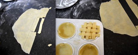 preparing lattice top for mini apple pie