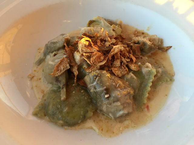 Dungeness crab and artichoke ravioli - Sutro's at The Cliff House