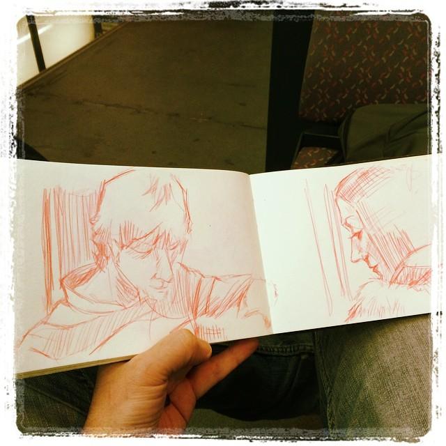 #urbansketch #uni #kurutoga #portraits #train #pencil