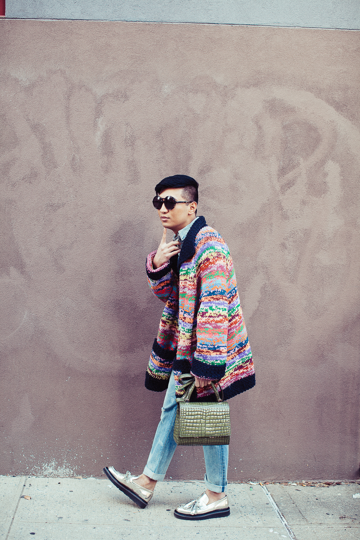 Bryanboy carrying a crocodile Max Mara bag