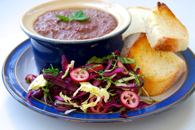 Easy Chicken Liver Pâté with Winter Slaw