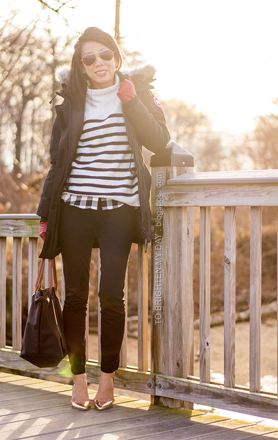 black parka, striped sweater, buffalo check shirt, rose gold metallic wedges, red gloves