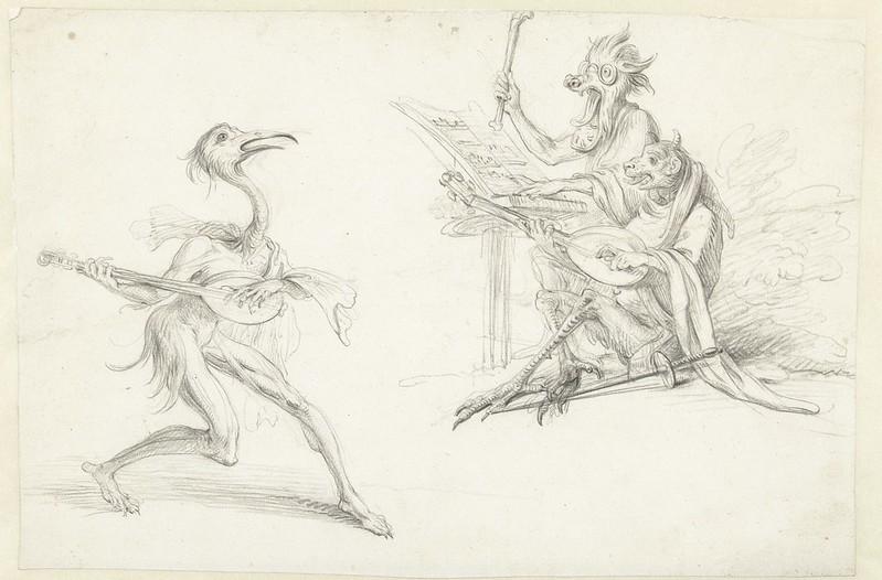 Cornelis Saftleven - Three musician devils, mid 17th century