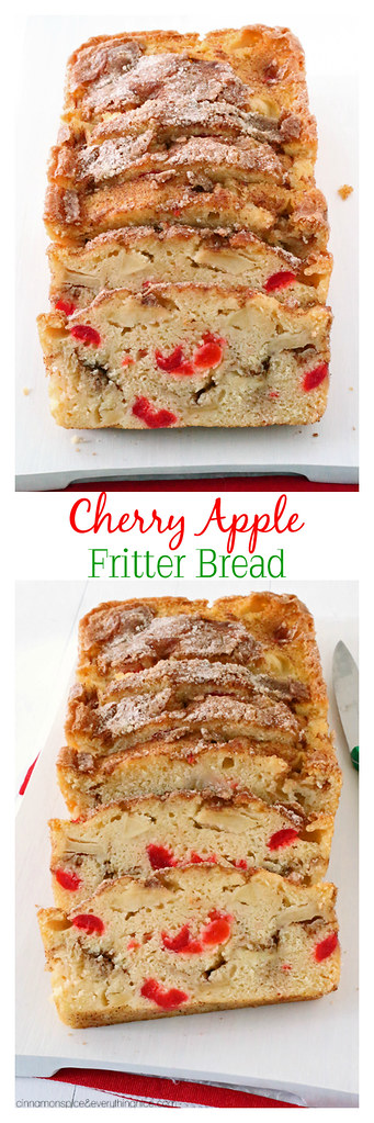 Cherry Apple Fritter Bread | Easy to make cherry apple bread with a cinnamon sugar filling. Tastes just like bakery fritters! cinnamonspiceandeverythingnice.com