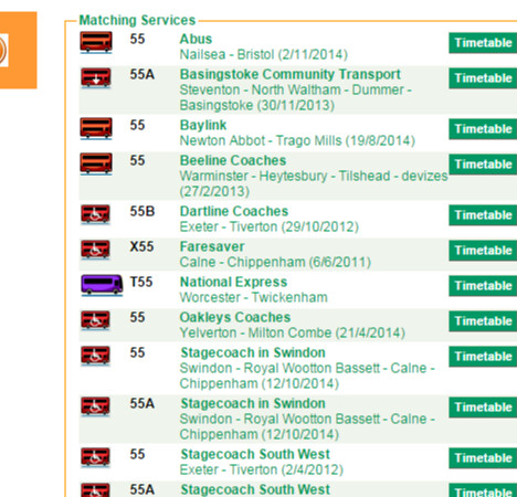 Traveline South West   Timetable lookup   English