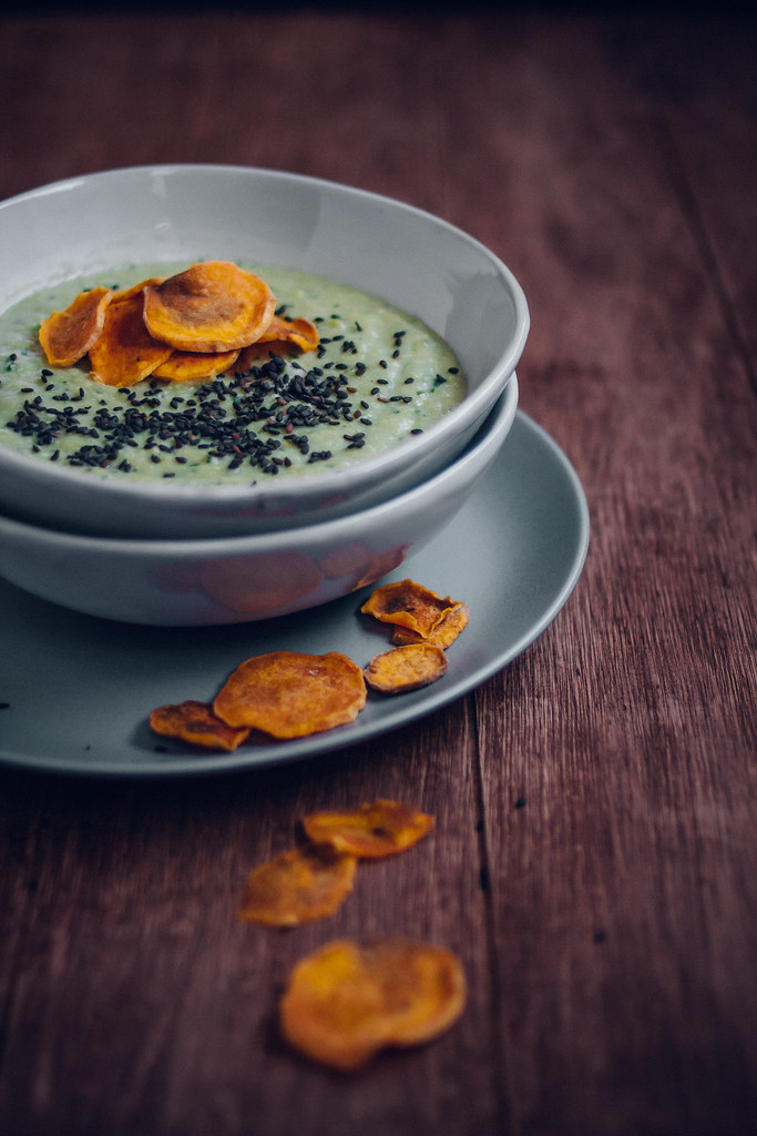 Edamame Miso Soup with Crispy Sweet Potato Chips & Sesame Seeds
