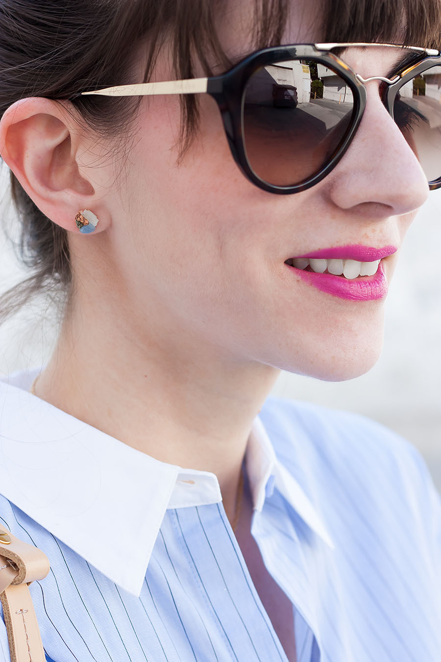 Dear Survivor Earrings, Bright Pink Lips, Prada Sunglasses, ShopDitto