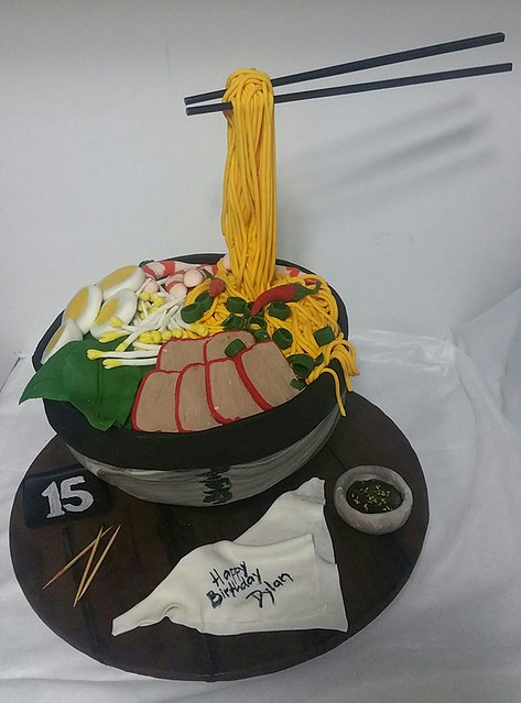 Gravity Defying Noodle Soup Chocolate Mud Cake by Mel Roxas-Camat of Marvellous Cake Creations