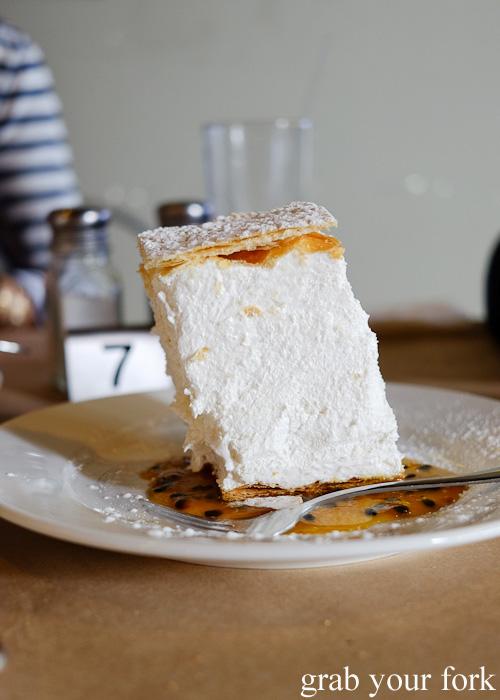 Sampita Serbian meringue dessert at Madera Kafe, Warwick Farm