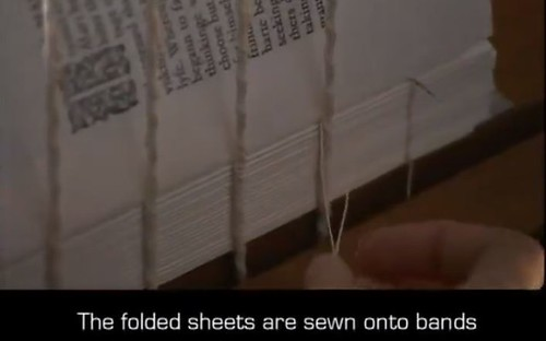 Folded sheets sewn into bands