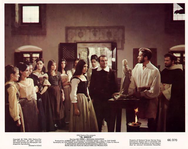 Escena de la película El Greco, rodada en Toledo en 1964 y protagonizada por Mel Ferrer y Rosanna Schiaffino