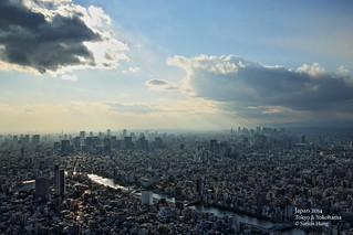 Downtown Tokyo. View from 350m deck at Skytree