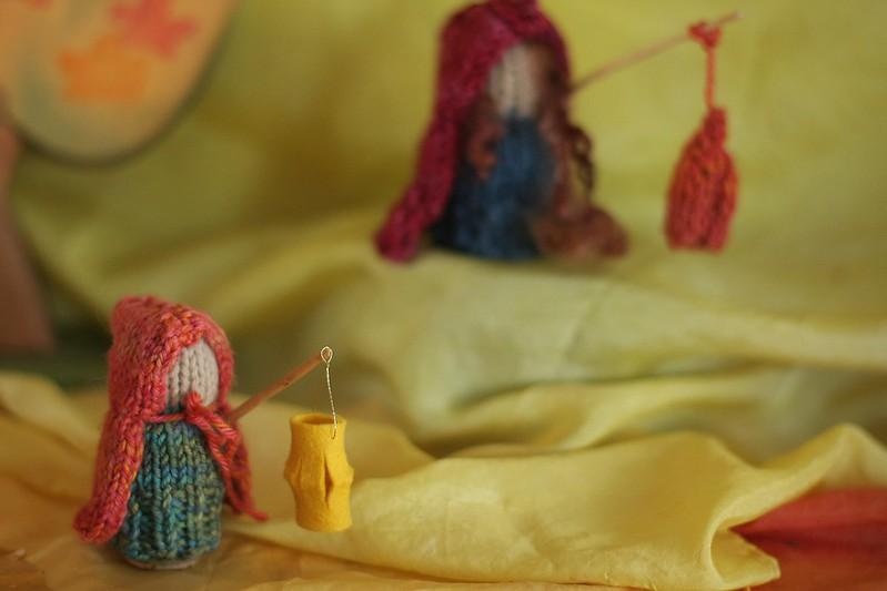 K's knitted lantern people (Waldorf homeschool handwork)
