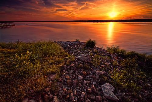 sunset lake oklahoma water rocks warm unitedstates grove dream grandlake exciting groveoklahoma