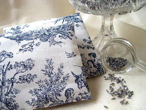 Blue Toile Lavender Sachets