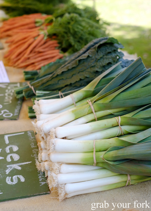 Certified organic leeks at Abbotsford Convent Slow Food Farmers Market