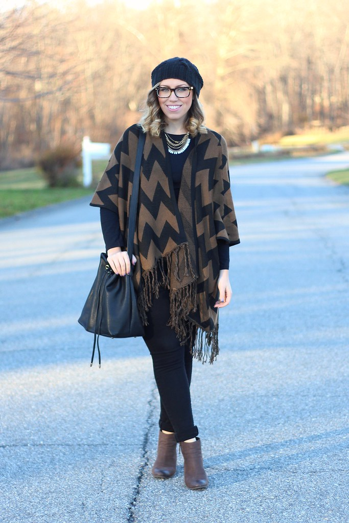 Chevron Cape & Brown Booties | Casual Fall Outfit | #LivingAfterMidnite