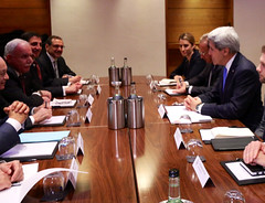 U.S. Secretary of State John Kerry meets with Arab League Secretary General El Araby in London, United Kingdom, on December 16, 2014. [State Department photo/ Public Domain]
