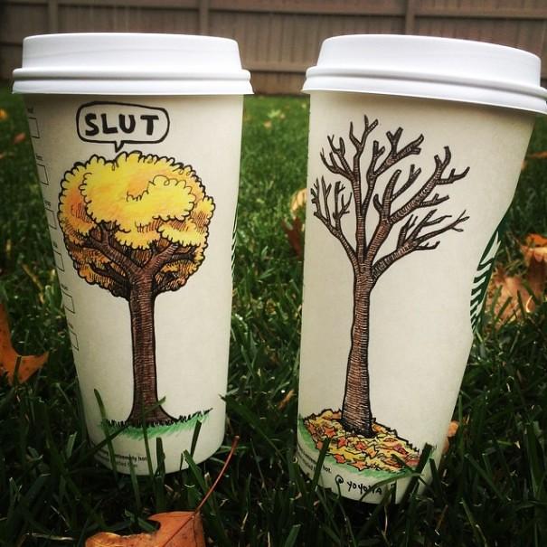 Những bức tranh vẽ ngộ nghĩnh, vui nhộn trên ly cà phê Starbucks