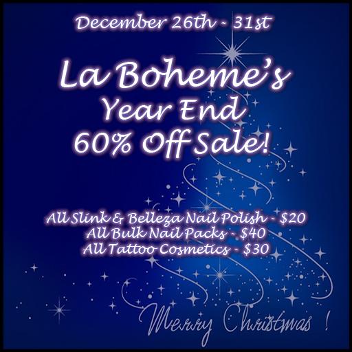 La Boheme Year End 60% Off Sale