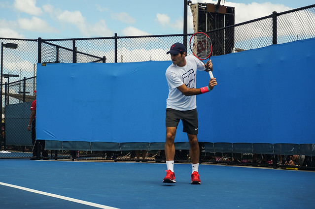 Roger Federer practising