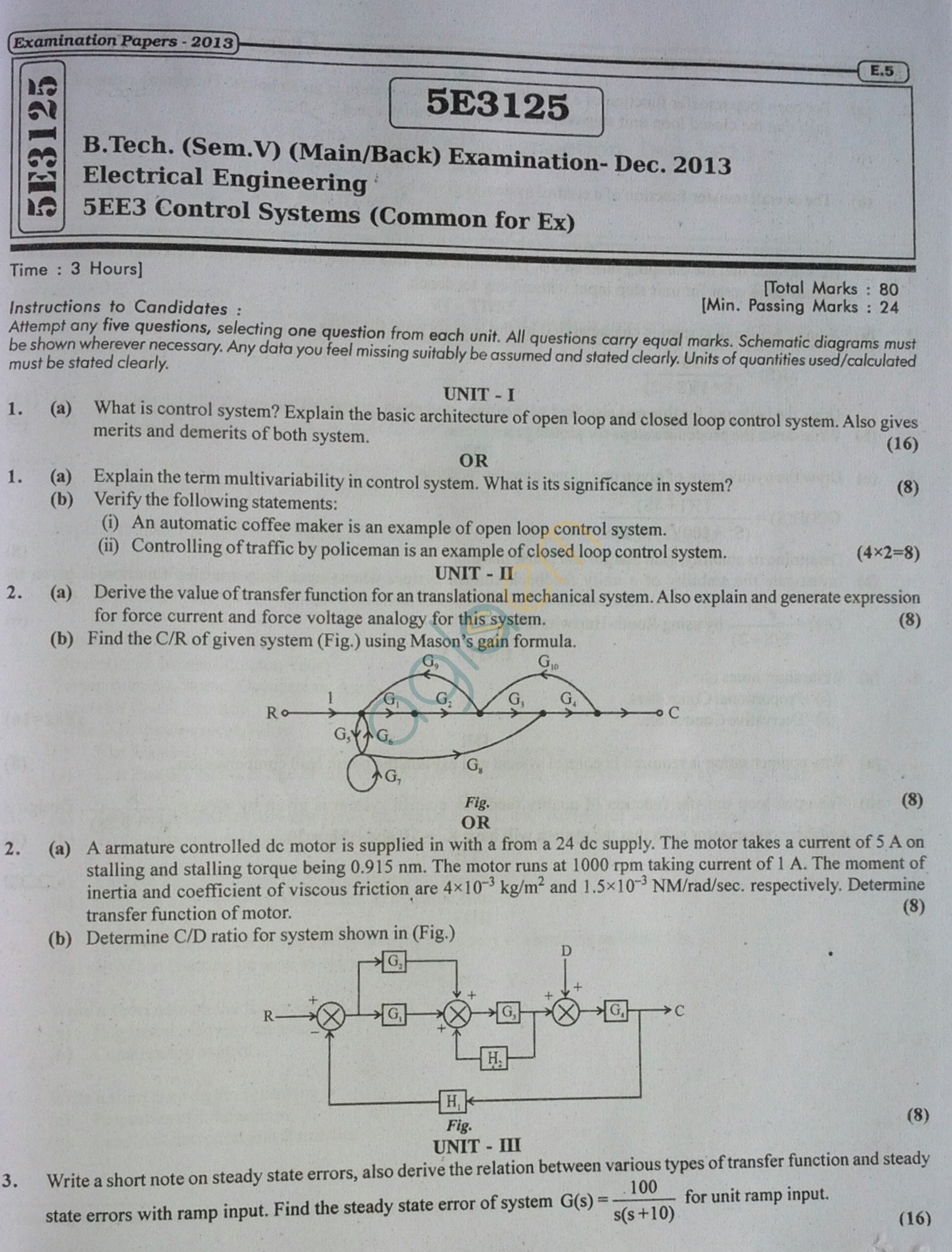 RTU: Question Papers 2013 - 5 Semester - EE - 5E3125