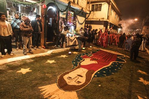 La imagen de la Virgen de Guadalupe resaltó en varias alfombras.