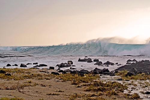 ocean winter sunset storm beach hawaii high surf pacific splash otec bigwaves
