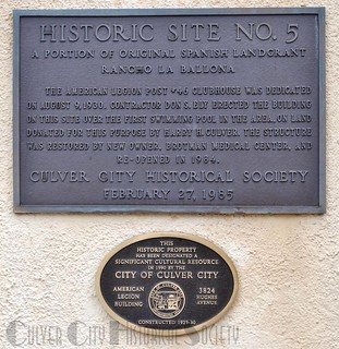 Culver City Historical Society Historic Site #5 marker