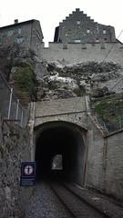 Railway tunnel under a castle