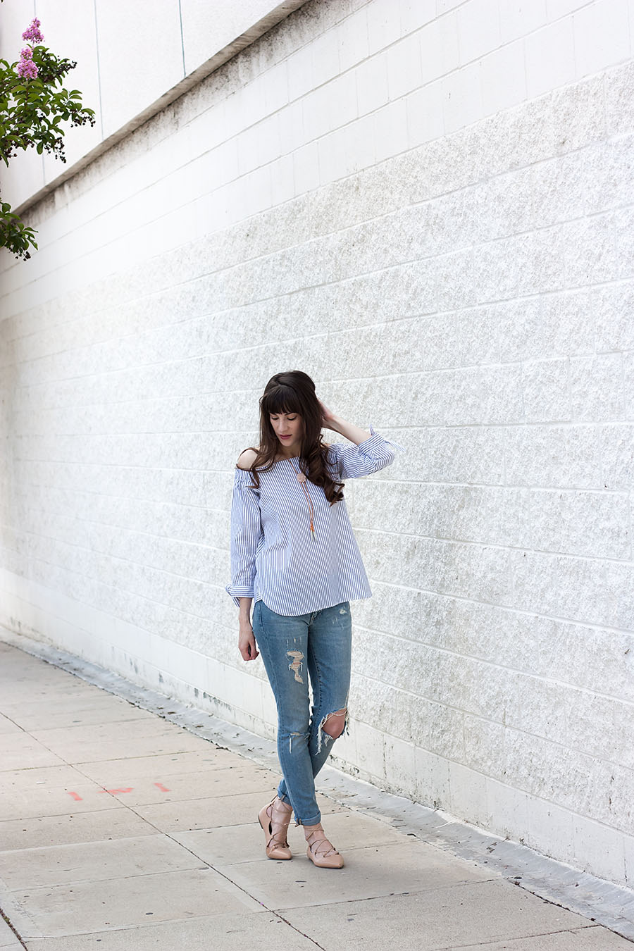 Striped Off The Shoulder Top, Ripped Skinny Jeans, Lace Up Flats, Casual Summer Outfit