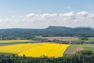 Schrammsteinaussicht zu Zschirnsteine und Hoher Schneeberg
