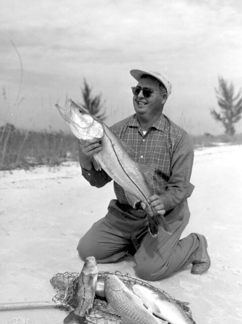 Roy Martin displaying his catch of snook and redfish - Marco Island