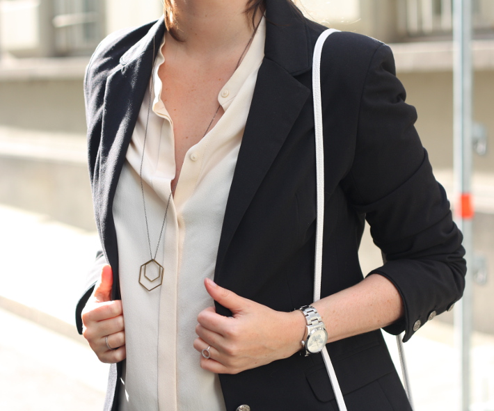 outfit silk blouse blazer hexagon necklace lobogato