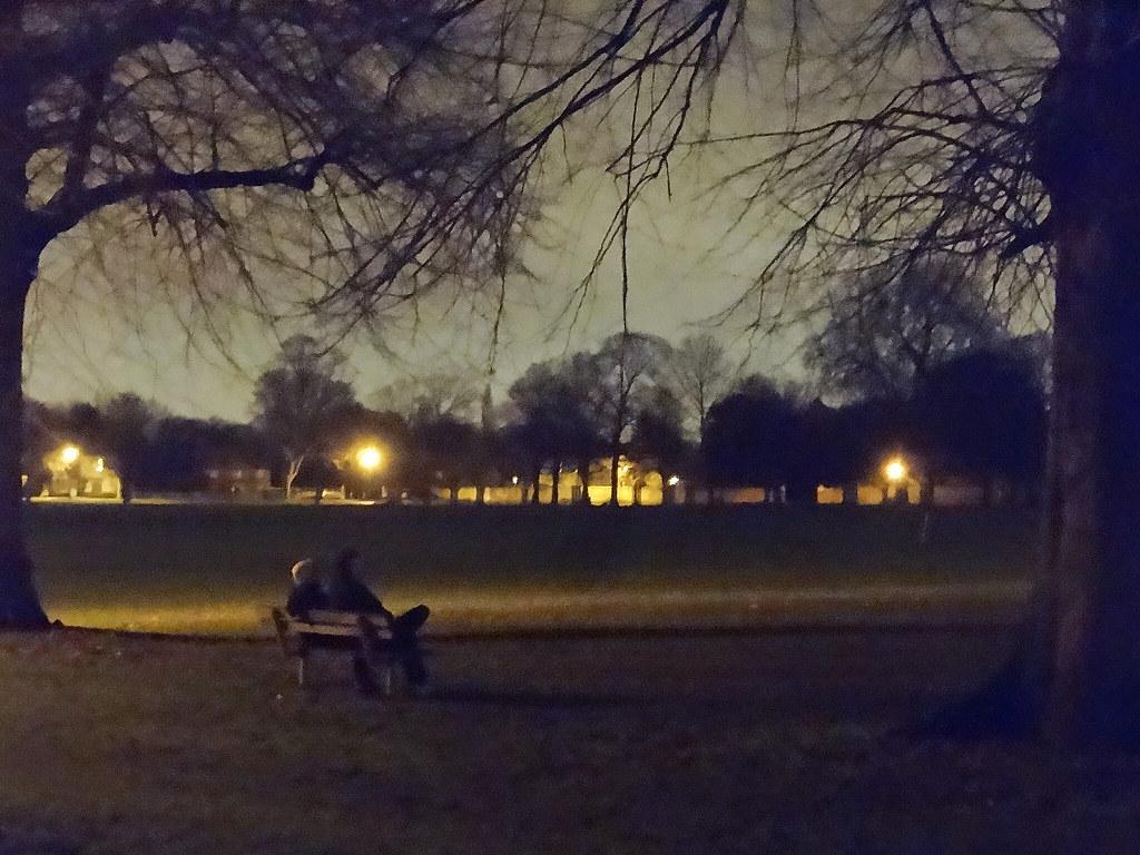 Two Men Sitting On Park Bench At Night Handheld Snapshot Flickr