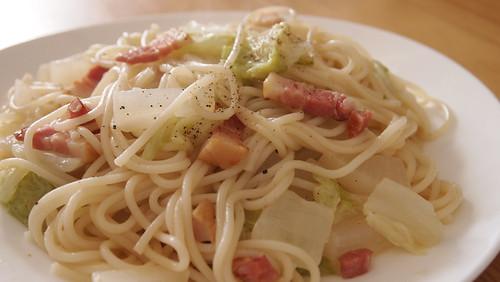 白菜と大根のパスタ