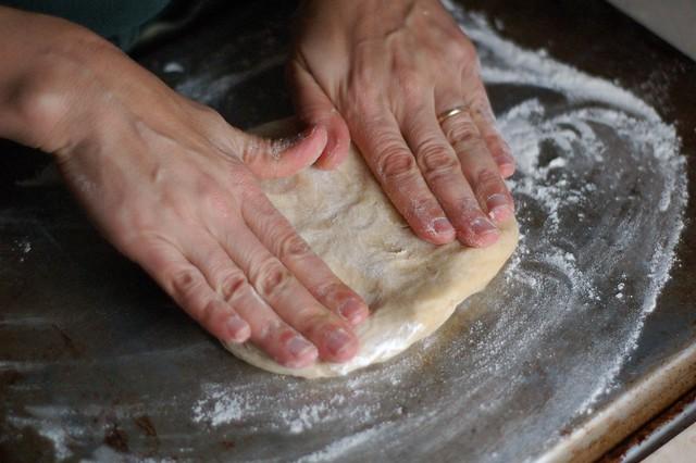 Stretching the tart dough out by Eve Fox, The Garden of Eating, copyright 2014