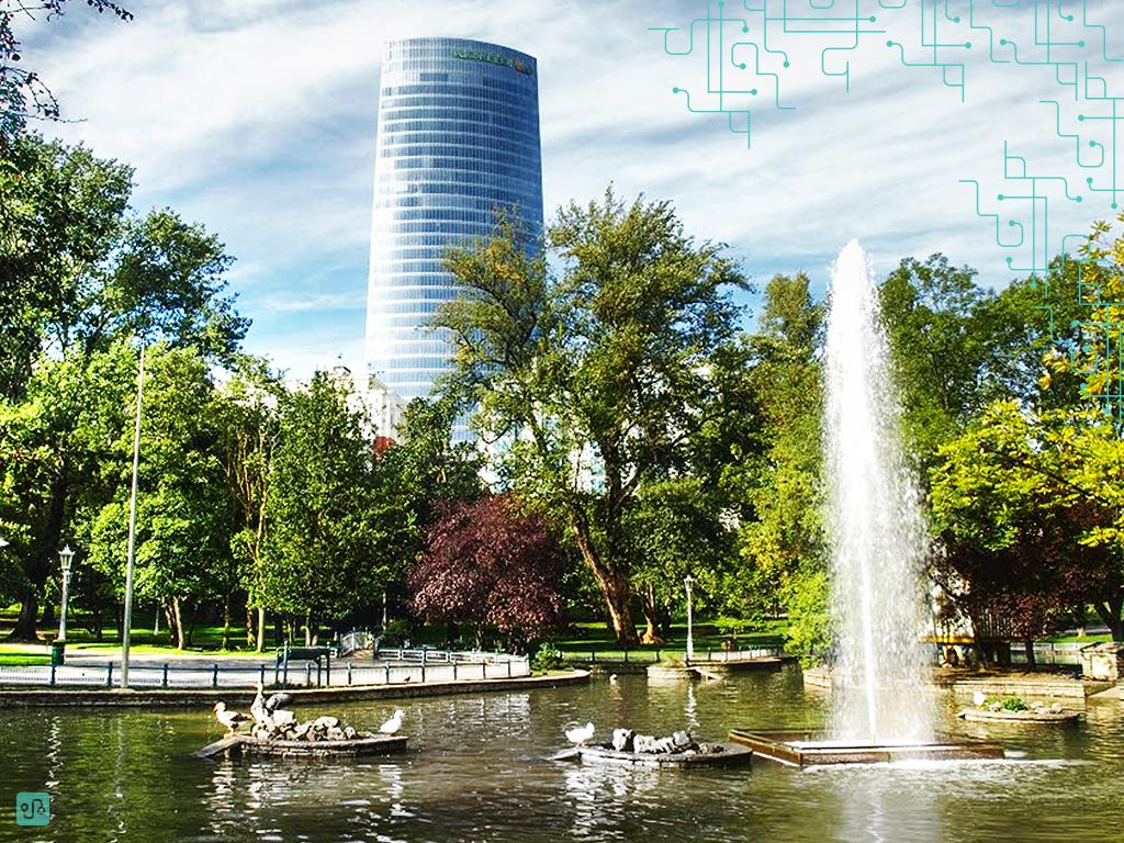 Lagoa do parque com Torre Iberdrola ao fundo | Bilbao