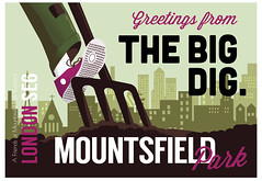 Mountsfield greetings from the big dig postcard by James Blackman