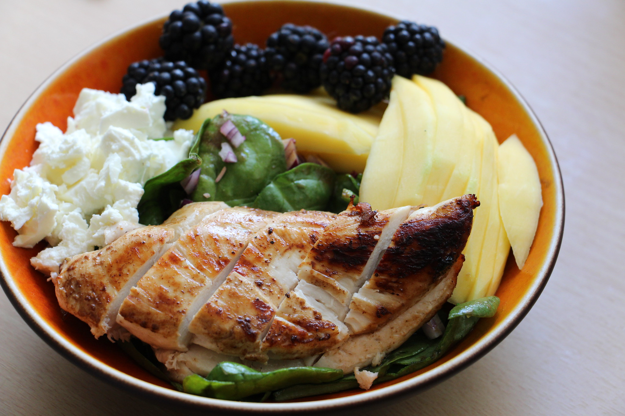 Chicken, Blackberries, Feta, Mango, Red Onion, Spinach