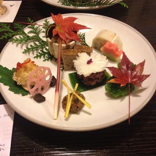 Bon's 4th course: buckwheat in the small pot, mushroom and mountain potato, turnip sushi over rice, agared soybean milk and winter vegetables, baked tofu, brown curry in Chinese style, mountain plants with miso, lotus root and fried millet, ginger shoot,