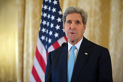 U.S. Secretary of State John Kerry speaks during a news conference at the U.S. Ambassador's Residence in Paris, France, on November 20, 2014, before traveling to Vienna, Austria, to join negotiations with Iranian officials about the future of their nuclear program. [State Department photo/ Public Domain]