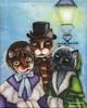 Victorian Caroling Cat Art