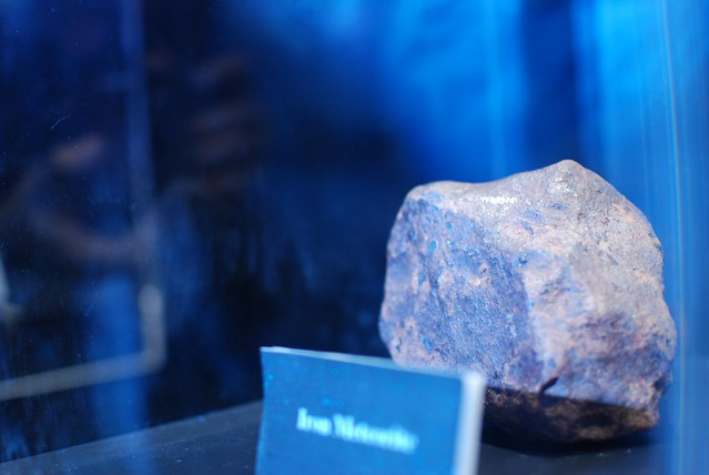 Display of a real meteorite rock.