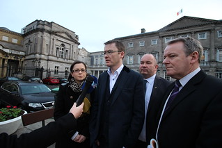 Senator David Cullinane speaks to media
