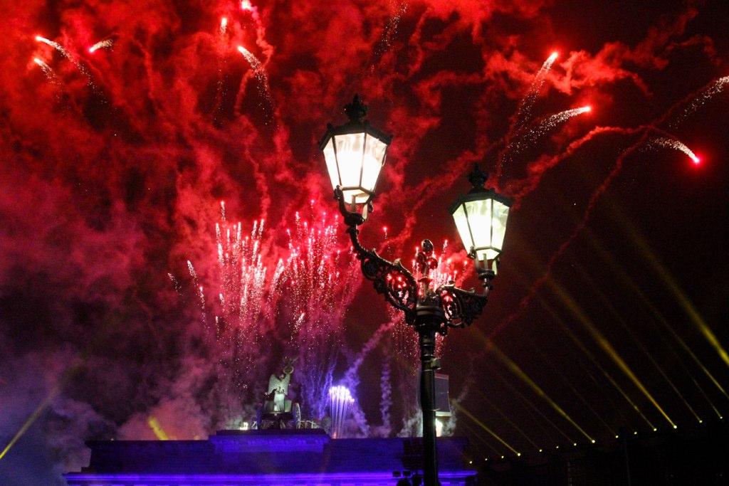 Brandenburg Gate Berlin. Firework and light show!