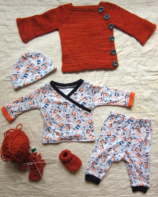 Orange & Blue Baby Set in Progress