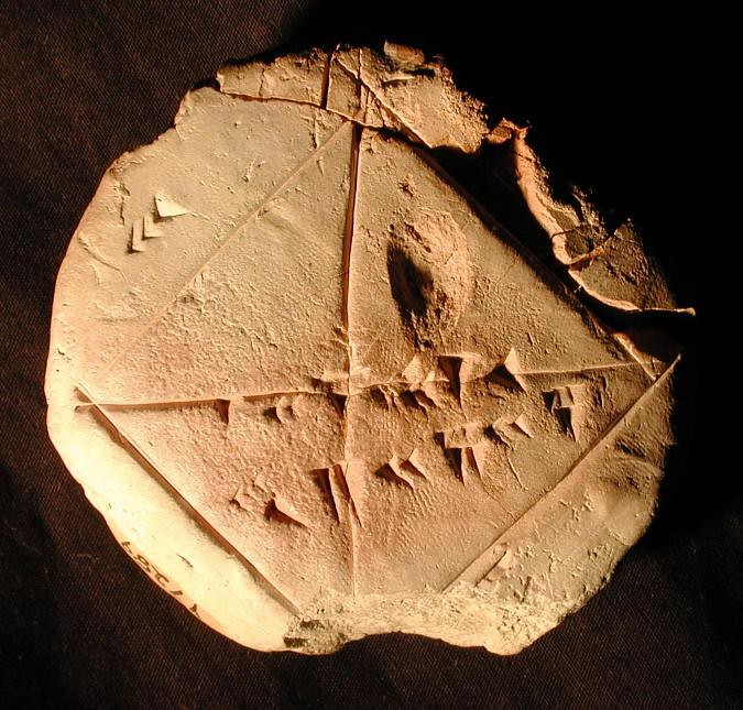 Clay tablet YBC 7289 showing the square root of 2 in sexagesimal
