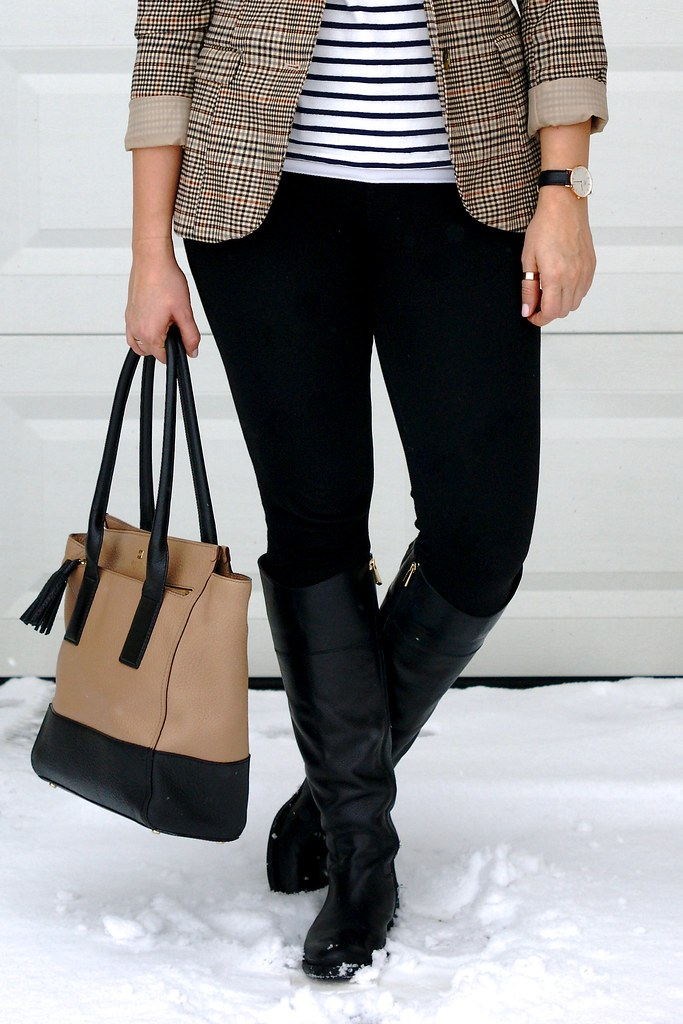 stripes, tweed, and leather