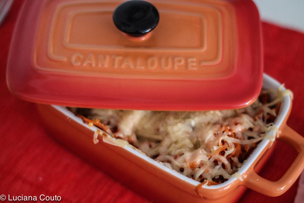 Linguini gratinado com sardinha